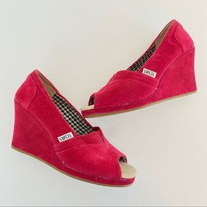 Toms Red Corduroy Wedge Peep Toe Shoes